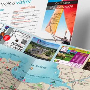 Carte, cartographie, régie publicitaire pour la côte d'émeraude par Indigo communication à Saint-Malo