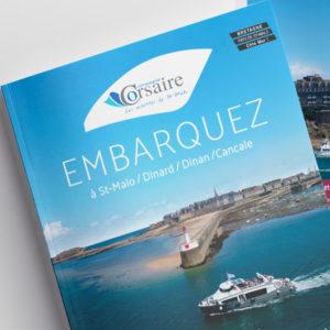 Plaquette, flyer, dépliant, graphisme, photo et carte de visite compagnie corsaire par Indigo communication à Saint-Malo