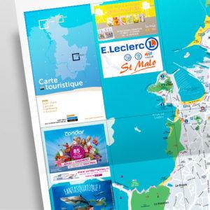 Carte, cartographie, illustration graphisme, édition, régie publicitaire, pour la bretagne par Indigo communication à Saint-Malo